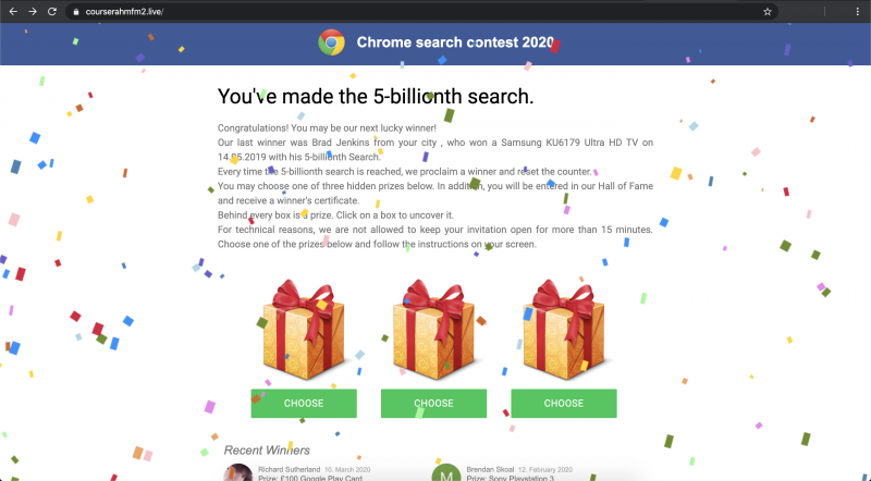 Chrome Search Contest 2021 POP-UP Scam
